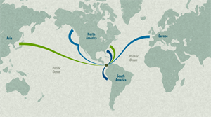 The biggest shipments from China and other parts of Asia have a new route to the eastern U.S. (Source: Georgia Tech)